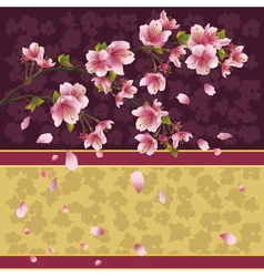 Background with sakura branch Japanese cherry tree vector