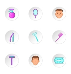 Barber icons set cartoon style vector
