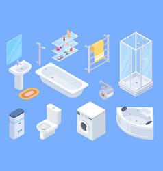 bathroom isometric bathrooms interior isometrics vector image