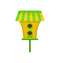 birdhouse with green-yellow roof cute nesting box vector image