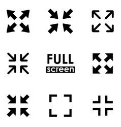 black full screen icon set vector image