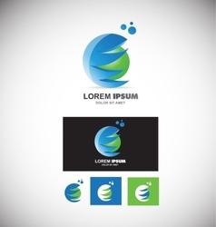 Blue green sphere logo 3d vector