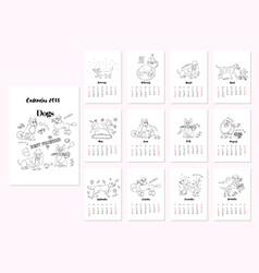 calendar dogs sketches vector image