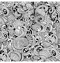 Cartoon doodles under water life seamless pattern vector image