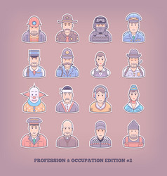 cartoon people icons occupation and profession vector image