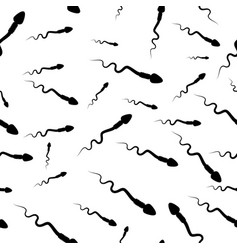 Cartoon spermatozoid sperm seamless background vector