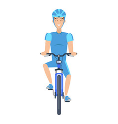 cheerful man riding a bike multicolored poster vector image