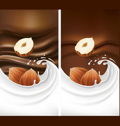 chocolate background with milk splash and hazelnut vector image