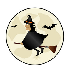 Circular frame with halloween witch and bat vector