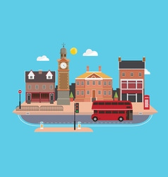 City street in flat design style United Kingdom vector image