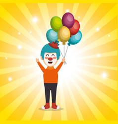 Clown with balloons air circus show vector