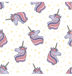 colorful seamless pattern with unicorn heads vector image