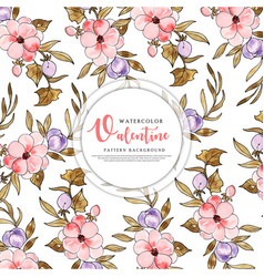 Colorful watercolor valentine pattern background vector