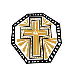 Cross jesus christ with graphic patterns vector