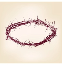 crown of thorns hand drawn llustration vector image