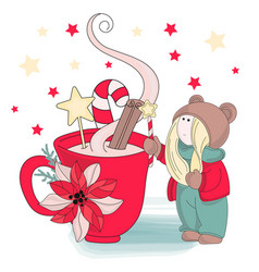 Cup of christmas set vector