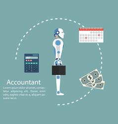 Cyborg accountant concept calculation vector