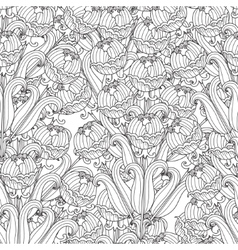 decorative seamless black and white flowers vector image