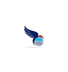 Eagle bird globe logo vector