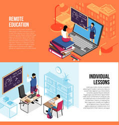 Education isometric banners vector