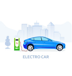 Electric car being charged on power station vector