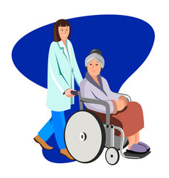 female nurse helping caring for elderly woman vector image