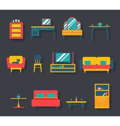 Flat Furniture Icons and Symbols Set for Living vector image