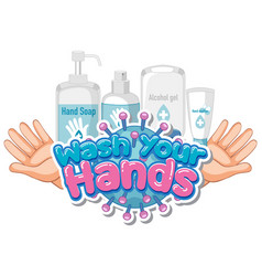 Font design for word wash your hands with soap vector