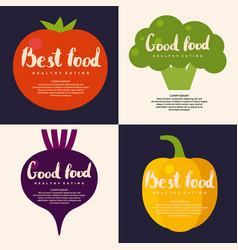 fresh vegetables background for menu or poster vector image