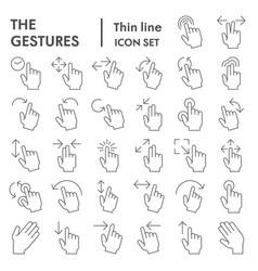 Gestures thin line icon set hand symbols vector