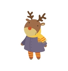 Girl Deer In Blue Warm Coat Childish vector image
