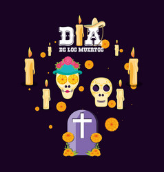 gravestone day of the dead party vector image