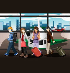 Group of young people traveling together vector