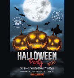 Halloween party flyer design with pumpkins vector