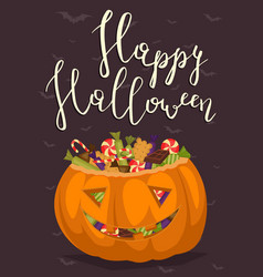 Halloween party poster with scary pumpkin vector