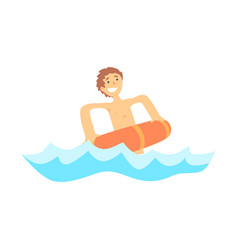 Happy boy having fun with red rubber swim ring in vector