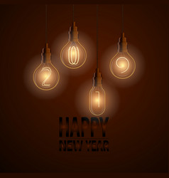 happy new year 2019 card with lamps on dark vector image