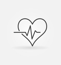 Heart pulse icon or logo in outline style vector