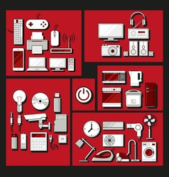 Home electronics appliances flat icons set vector image