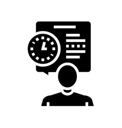 Human talk about task time scheduling glyph icon vector