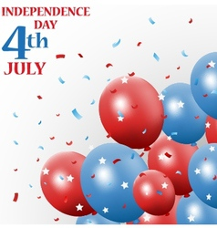 Independence day 4th july with balloon vector image
