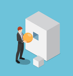 Isometric businessman trying to put sphere shape vector