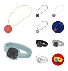 Jewelry and accessories cartoonblackflat vector