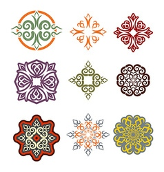 Kazakh ornament set of elements ethnic pattern vector