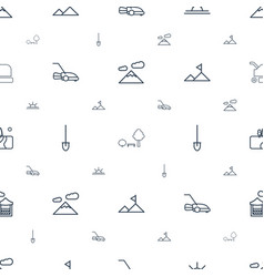 landscape icons pattern seamless white background vector image