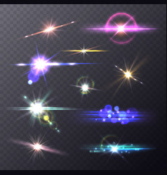 lens flare effects realistic lights camera vector image