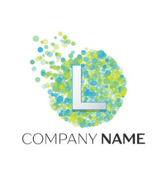 letter l logo blue green yellow particles vector image