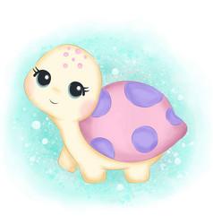 Little turtle in ocean vector