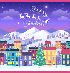 merry christmas and happy new year town in winter vector image