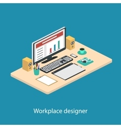 Modern creative office workplace vector
